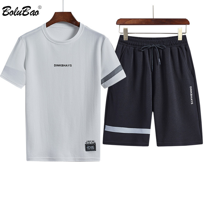 BOLUBAO Brand 2020 Men Sets 2 Piece Summer New Men' S Fashion T Shirts + Joggers Shorts Set Casual Tracksuit Suit Male