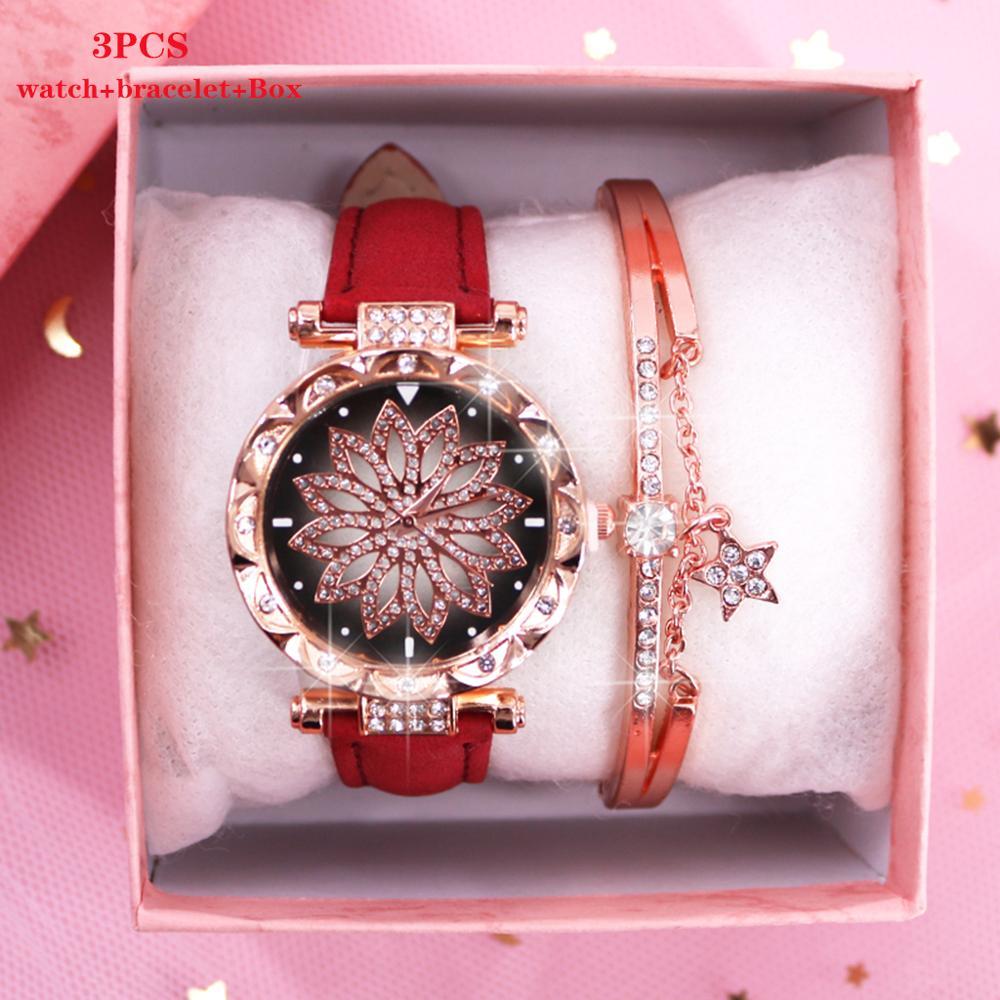 2020 Ladies Wrist Watch Bracelet Set For Women Watches Luxury Quartz Wristwatches Gifts Relogio Feminino Diamond Clock With Box