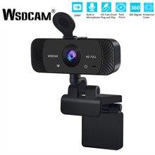 Wsdcam 1080P kamera internetowa minikomputer PC kamera internetowa z mikrofonem obrotowa kamera do transmisji na żywo wideokonferencje