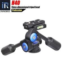 Innorel h40 dois alça de amortecimento hidráulico 3d tridimensional tripé cabeça rotação 360 graus para canon nikon dslr câmera