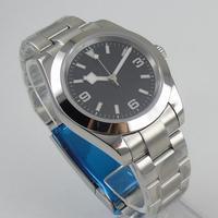 Bliger 40mm automático masculino relógio de vidro safira dial pulseira inoxidável deployant fecho 99|watch 43mm|watch men|watch men watch -
