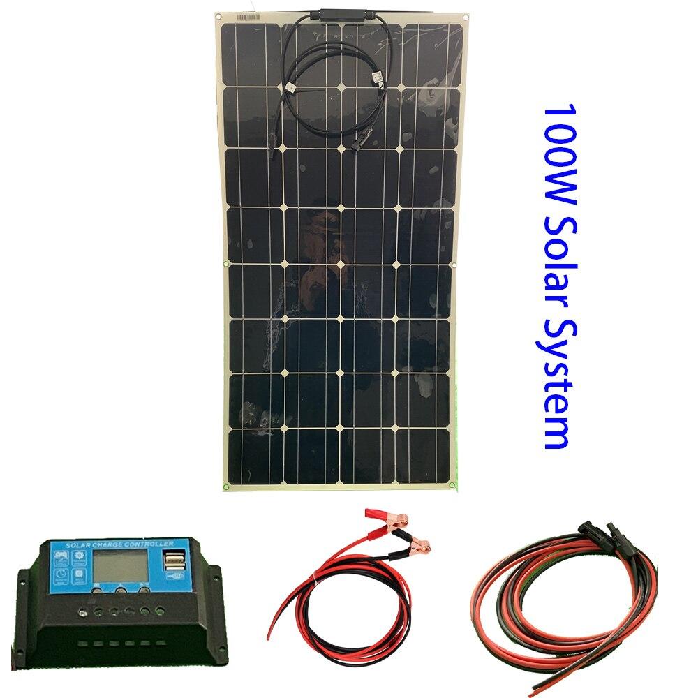 18V 100 W Flexible Solar Panel Kit 12v 100 Watt For Home 12v Battery Charger Whole Solar System Kits