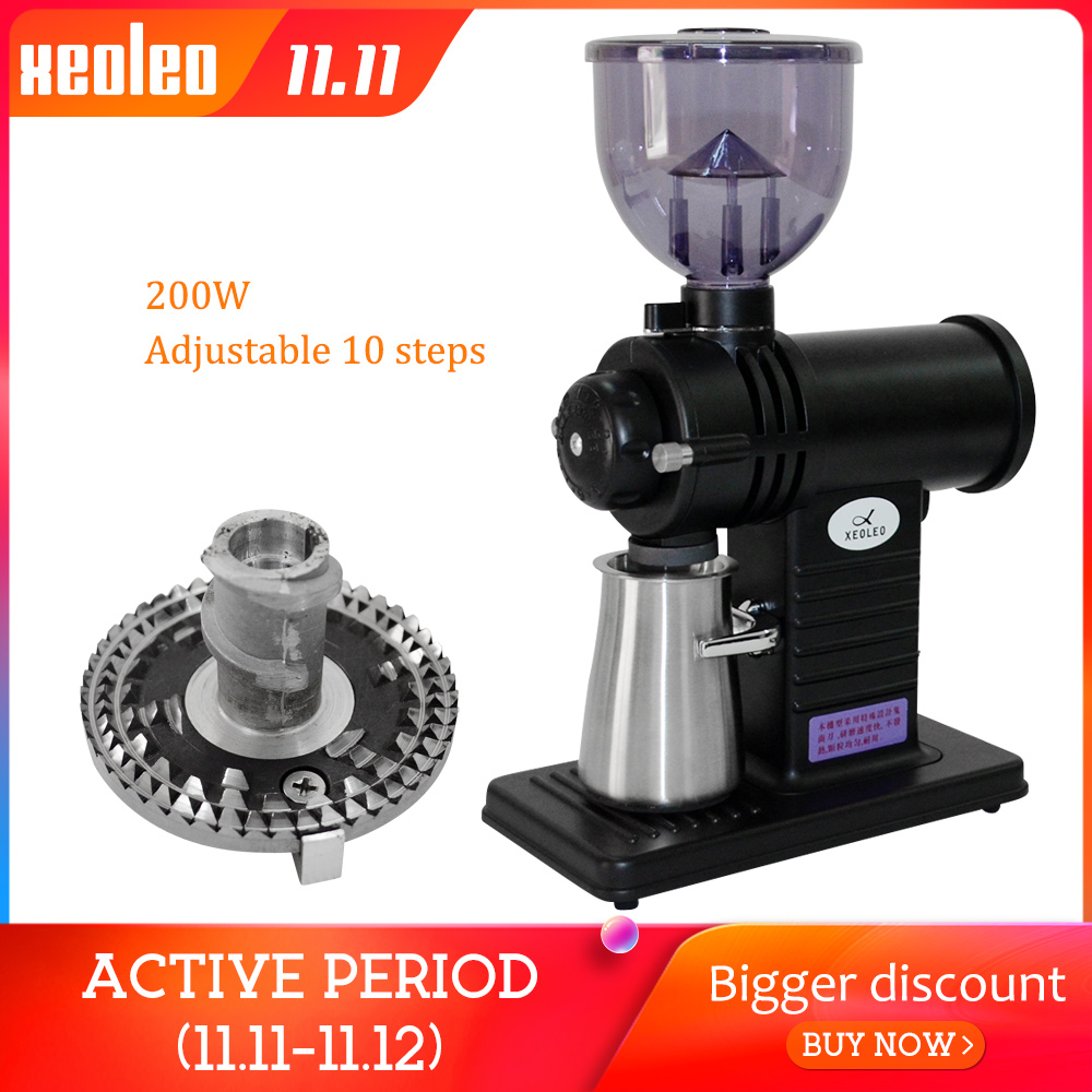 Xeoleo moedor de café elétrico roda plana rebarba moedor de café miller superhard fantasma cortador de dente máquina de trituração de café 10 passo