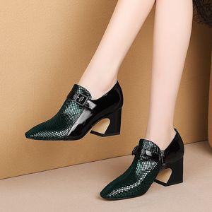 Image 5 - ALLBITEFO Two kinds of genuine leather high heel shoes women heels spring autumn high heels Belt buckle office ladies shoes