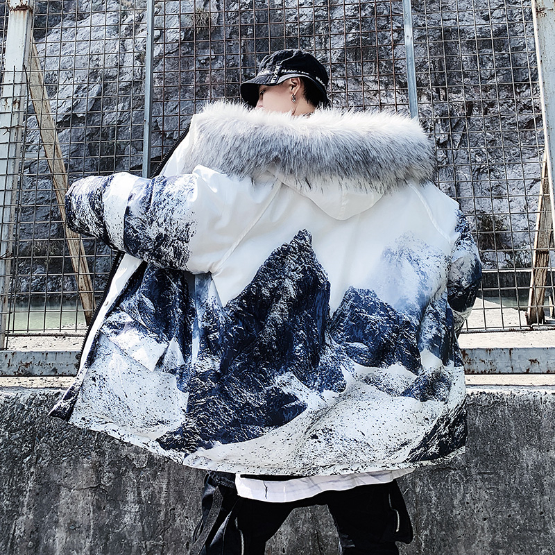 US Size 2019 Men Thick Warm Winter Jacket Casual Loose Harajuku Mens Parkas Coats Hooded Mountain Print Male Oversized DG494