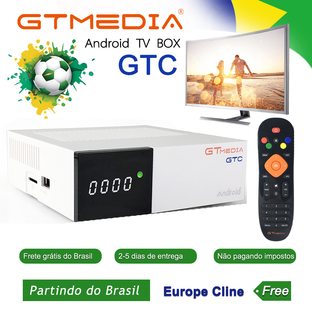 GTmedia GTC <font><b>Android</b></font> 6.0 <font><b>TV</b></font> <font><b>BOX</b></font> <font><b>DVB</b></font>-<font><b>S2</b></font>/<font><b>T2</b></font>/Cable/ISDBT Amlogic S905D 2G+16GB support iptv m3u cccam satellite receiver Ship Brazil image