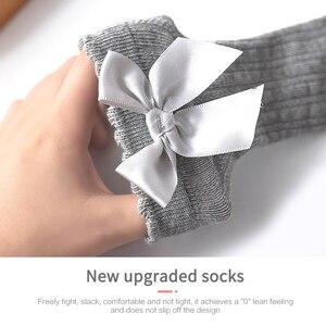 Носки с бантом, весна осень, для новорожденных девочек, детские на Рождество, зимние Нескользящие махровые хлопковые носки, длинные носки принцессы до колена|Носки|   | АлиЭкспресс