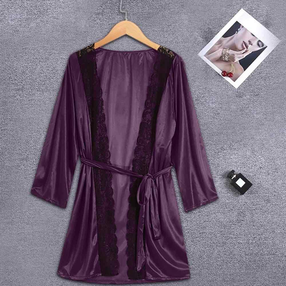 2019 נשים סקסי משי קימונו כתנות הלילה Babydoll תחרה הלבשה תחתונה חגורת חלוק רחצה Nightwear נשים ארוטי הלבשה תחתונה халат женский A40