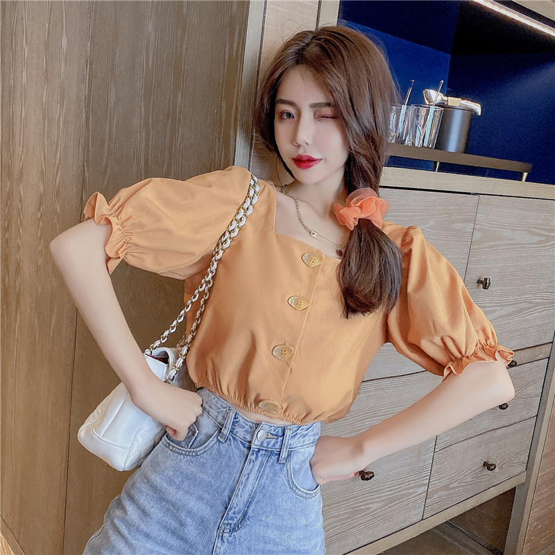 COIGARSAM Cute blouse women New Summer Square Collar blusas womens tops and blouses Orange 6718