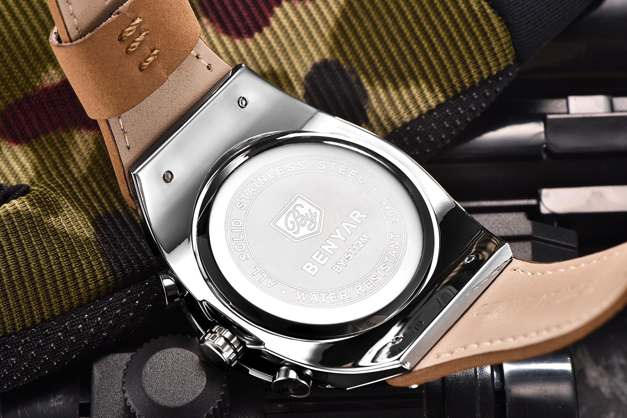 BENYAR Big Dial Sport Watch Men Waterproof Outdoor Military Chronograph Quartz Leather Watch Army Male Clock Relogio Masculino 2