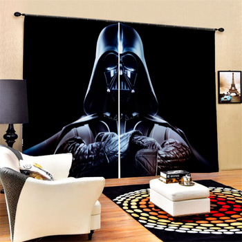Star Wars Polyester Window Curtains for Living Room Bedroom 2 Panels Darth Vader Movies Figure Decor Curtains for Office