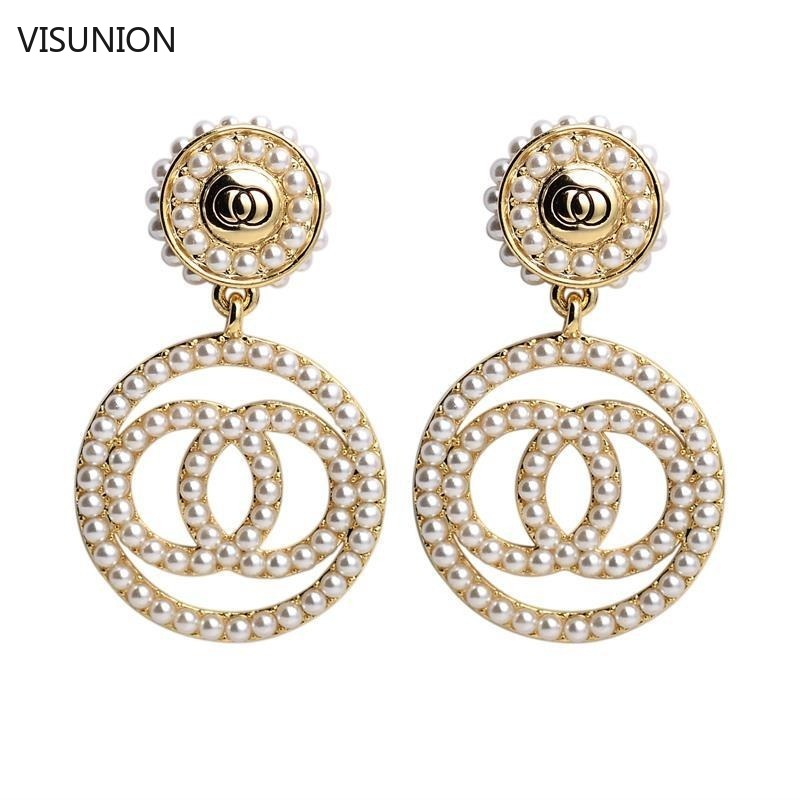 Fashion Three Circles Pearl Crystal Studs Earring Elegant Silver Gold Ear Studs Temperament Long Pendant Earring For Women New