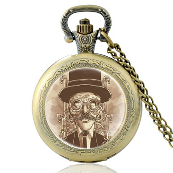 Vintage Bronze Steampunk Glass Dome Quartz Pocket Watch Charm Men Women Punk Style Necklace Pendant Jewelry classic antique black steampunk gear glass dome punk style quartz pocket watch charm men necklace pendant jewelry birthday gifts