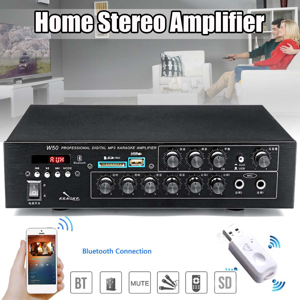 220V 2 Channel Home Stereo Amplifiers 100W+100W <font><b>bluetooth</b></font> <font><b>4.0</b></font> <font><b>HIFI</b></font> Power Audio Amplifiers Home Karaoke Amplifiers Car Amplifiers image