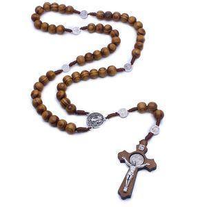 Fashion Handmade Round Bead Catholic Rosary Cross Religious Wood Beads Men Necklace Charm Gift X7JE|Church Souvenirs| |  -