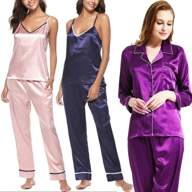 2019 New Style Women Silk Pajama Sets Satin Sleepwear Long Sleeve Large Size Fashion Pajamas For Girl Nightwear Suit