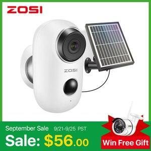 ZOSI аккумуляторная батарея ed IP камера Солнечная зарядка 1080P HD наружная беспроводная камера безопасности WiFi