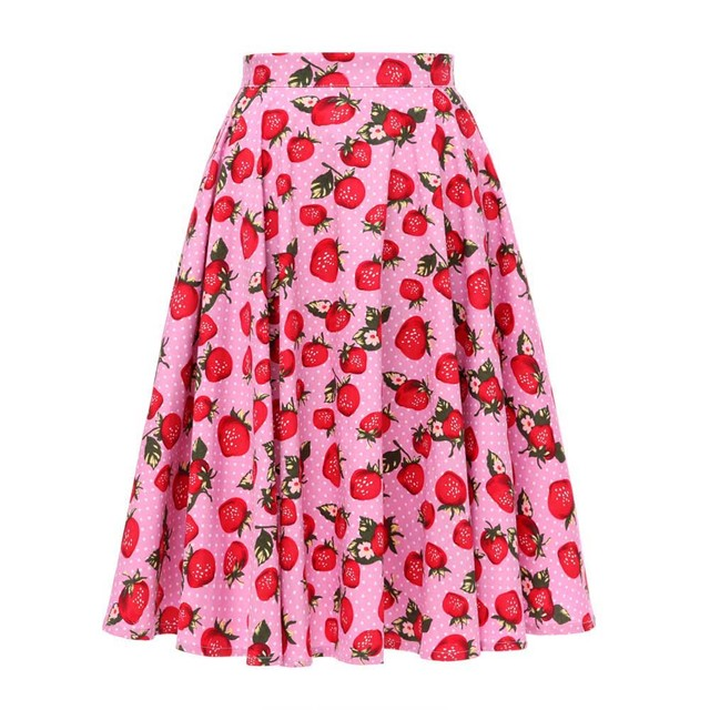 Autumn High Waist Skirts Cotton Womens Polka Dot Print Retro Vinatge Swing Pinup Skirt Rockabilly 50s Retro Vintage Jupe Femme 4