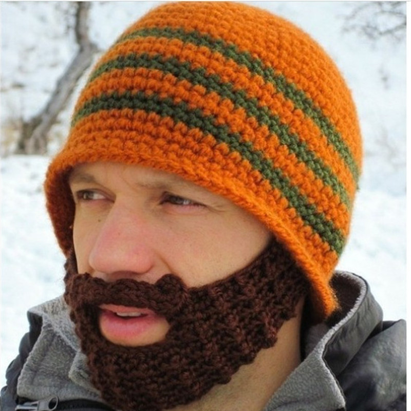 2019 Creative Winter Warm Handmade Knitted Crochet Beard Hat Bicycle Mask Ski Cap Funny Hats Xmas Gift Festival Unisex Beanies