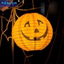 1pcs Pumpkin Paper Festive LED Lamp Lantern Halloween Party Room Decorations House Outdoor Hanging Decoration Bat Lanterns Decor