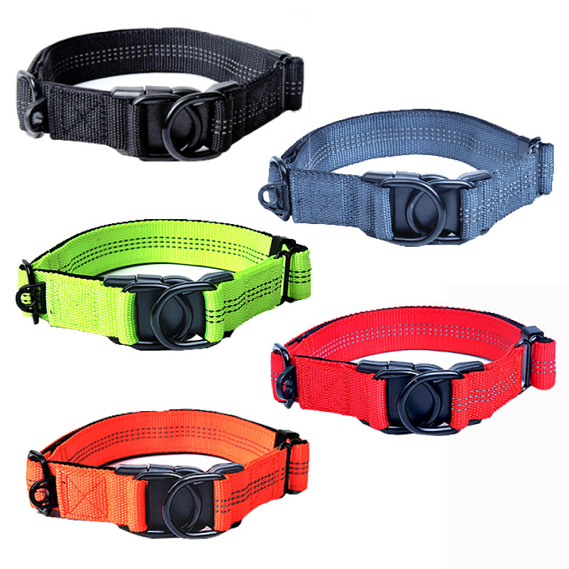 -Dog Neck Band Nylon Pet Collar Medium Large Dog Dog Adjustable Reflective Neck Ring