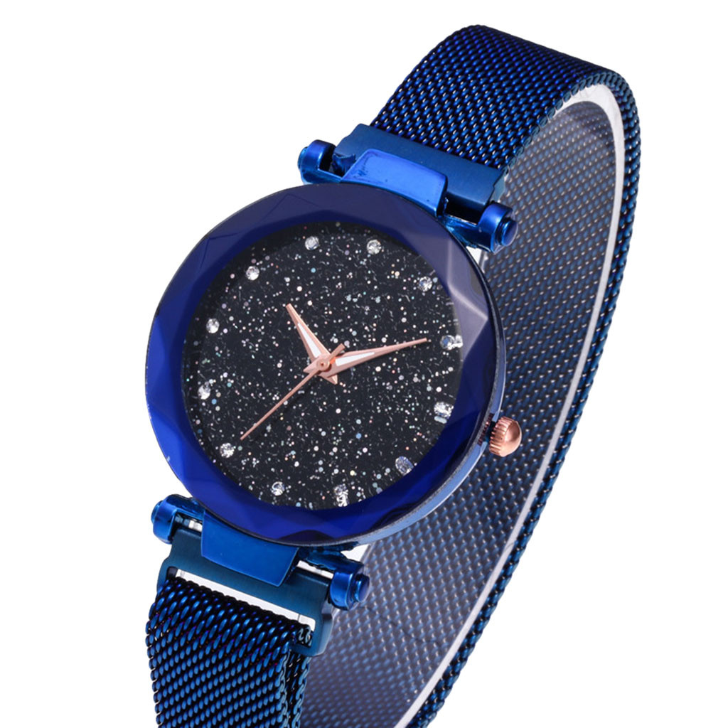 Reloj de marca de lujo de moda para mujer reloj de cielo estrellado reloj de mujer con correa de malla con piedra magnética DE Milan PARA MUJER reloj femenino 2020 regalo Relojes de pulsera para mujer, marca de lujo, reloj de pulsera de acero plateado para mujer, reloj de pulsera de diamantes de imitación para mujer, reloj femenino, reloj femenino
