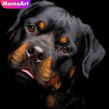 MomoArt 5D DIY Diamond Painting Rottweiler Full Square Embroidery Dog Mosaic Picture Of Rhinestone Gift