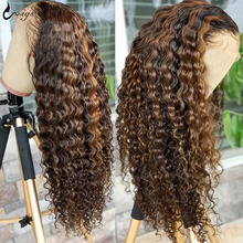 UWIGS onda profunda peluca Frontal de encaje frente pelucas de cabello humano resaltar peluca pelucas de cabello humano para las mujeres rubio miel Ombre peluca con malla Frontal