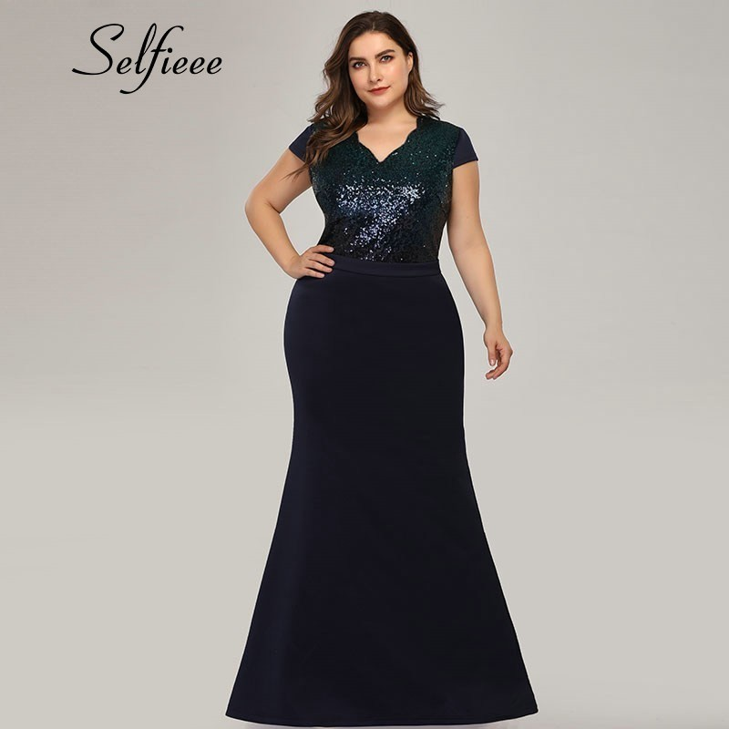 Plus Size Sequined Women Dresses Mermaid V Neck Patchwork Sexy Summer Elegant Long Party Dresses Vestidos De Fiesta De Noche in Dresses from Women 39 s Clothing