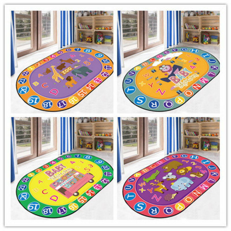 Elliptical Printed Carpet Living Room Bedside Carpet Children Climbing Cushion Game Carpet Floating Window Door Cushion Mat