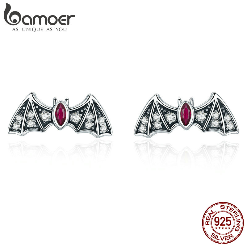 Solid 925 Sterling Silver Shiny Bat Wildlife Gothic Halloween Gift Stud Earrings