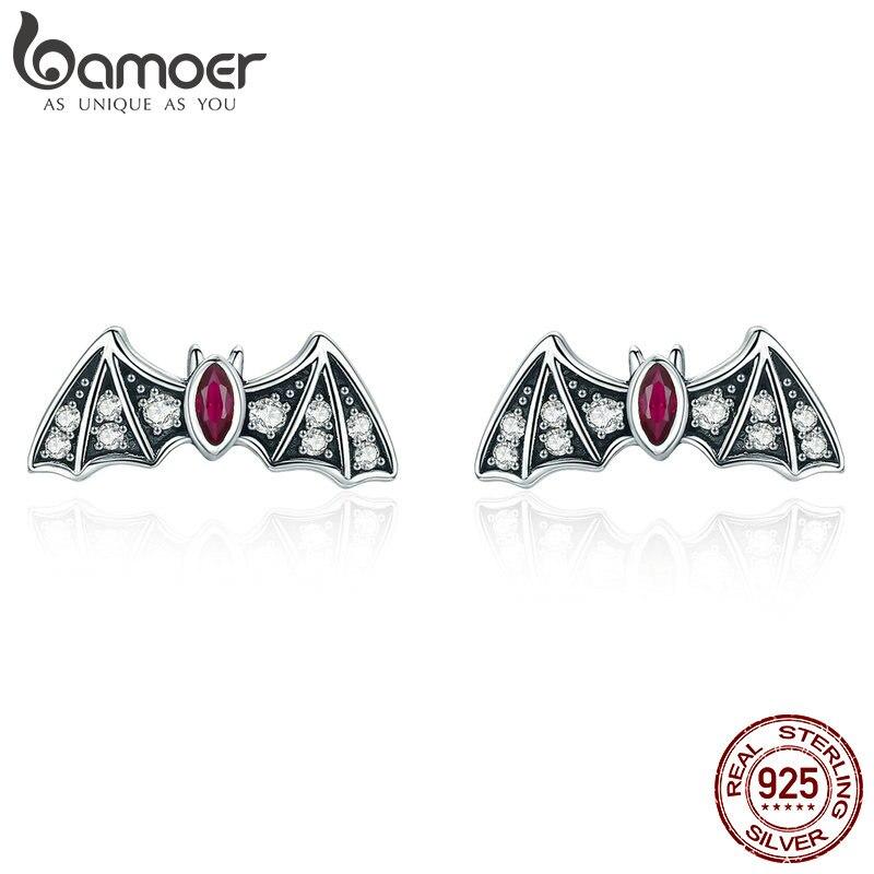 BAMOER Genuine 925 Sterling Silver Mysterious Bat Dazzling CZ Stud Earrings For Women Fashion Earrings Jewelry Gift BSE004