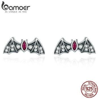 BAMOER Genuine 925 Sterling Silver Mysterious Bat Dazzling CZ Stud Earrings for Women Fashion Jewelry Gift BSE004 - discount item  30% OFF Fine Jewelry
