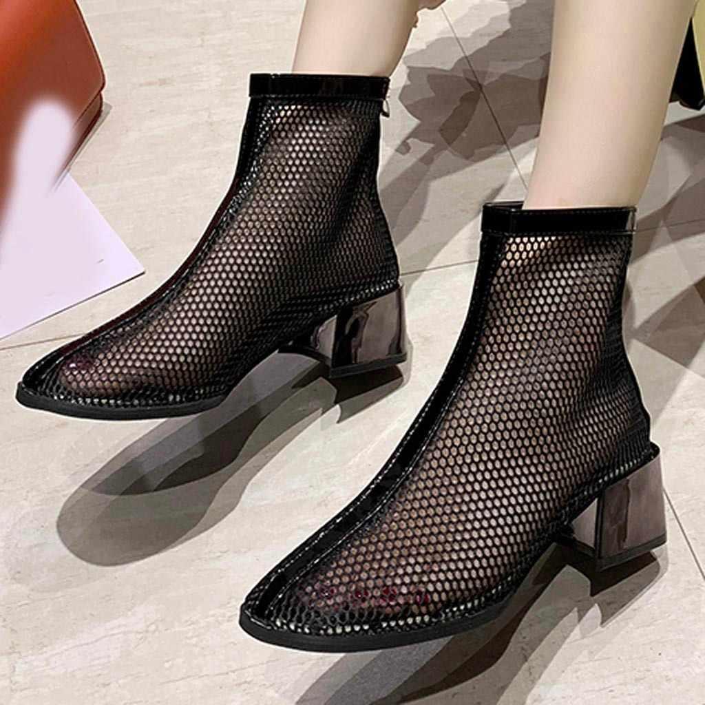 Tornozelo feminino curto botins bare dedo do pé redondo malha frente zíper botas salto quadrado botas femininas cano curto salto baixo # n4