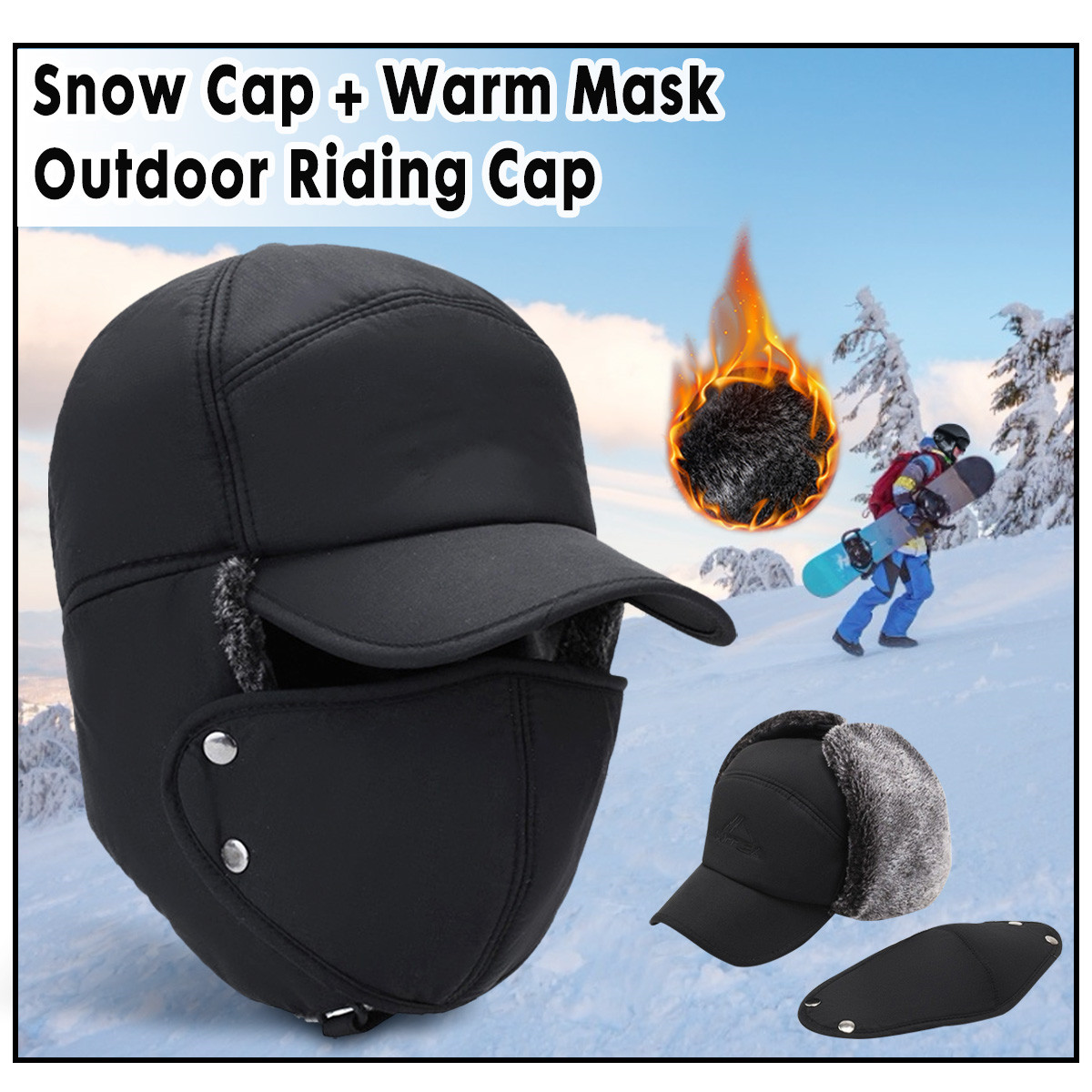 Men Women Hats Caps Mask Set Earmuffs Thickened Warm Winter For Outdoor Cycling Coldproof Windproof Cotton Cap Hunting Hat Masks
