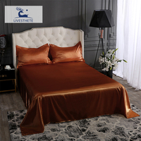 Liv Esthete Luxury Brown 100% Silk Flat Sheet Silky Pillowcase Bed Linen Set Queen King Bed Sheet Healthy Skin For Family Sleep