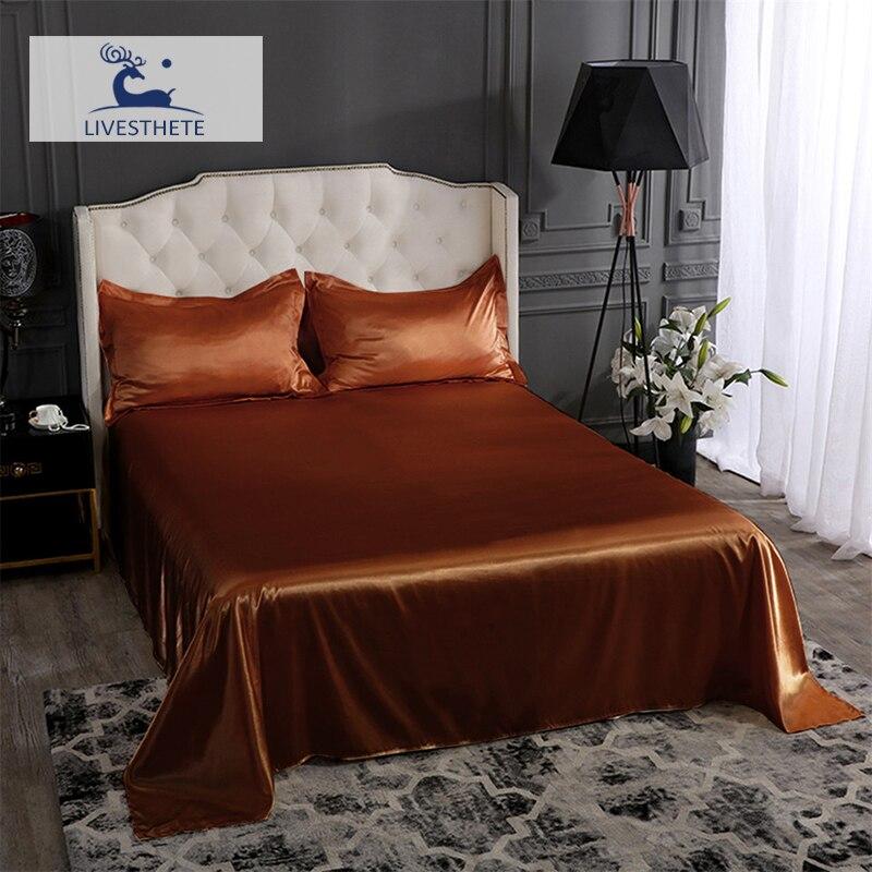Liv-esthete luxe brun 100% soie drap plat soyeux taie d'oreiller linge de lit ensemble reine roi drap de lit peau saine pour le sommeil de la famille