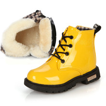 Buy Kids Shoes girls Boys Patent Leather Lace Up Martin Boots Warm and Waterproof Autumn Winter Children Shoes 1#15/15D50 directly from merchant!
