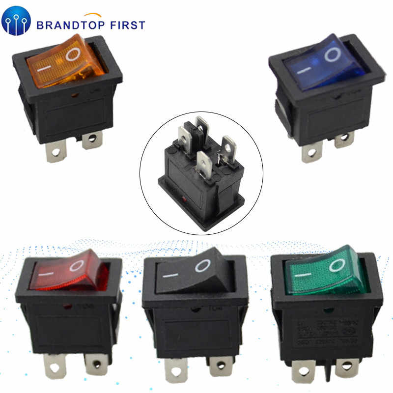 KCD1 ON-OFF 4 Pin Boat Car Rocker Switch 21*15mm 6A/250V 10A/125V AC Red Yellow Blue Green Light Siwtch