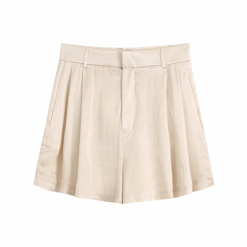 Casual women satin shorts 2020 summer fashion ladies elegant shorts party female streetwear shorts sweet girls chic beige shorts 1