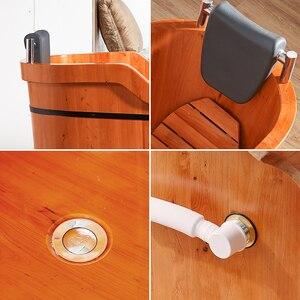 Image 5 - Di alta Qualità di Cedro Barile Vasca da bagno di Sicurezza di Supporto del Sedile Vasca Da Bagno Per Adulti Doccia Cuscino In Legno Massiccio Vasca da bagno
