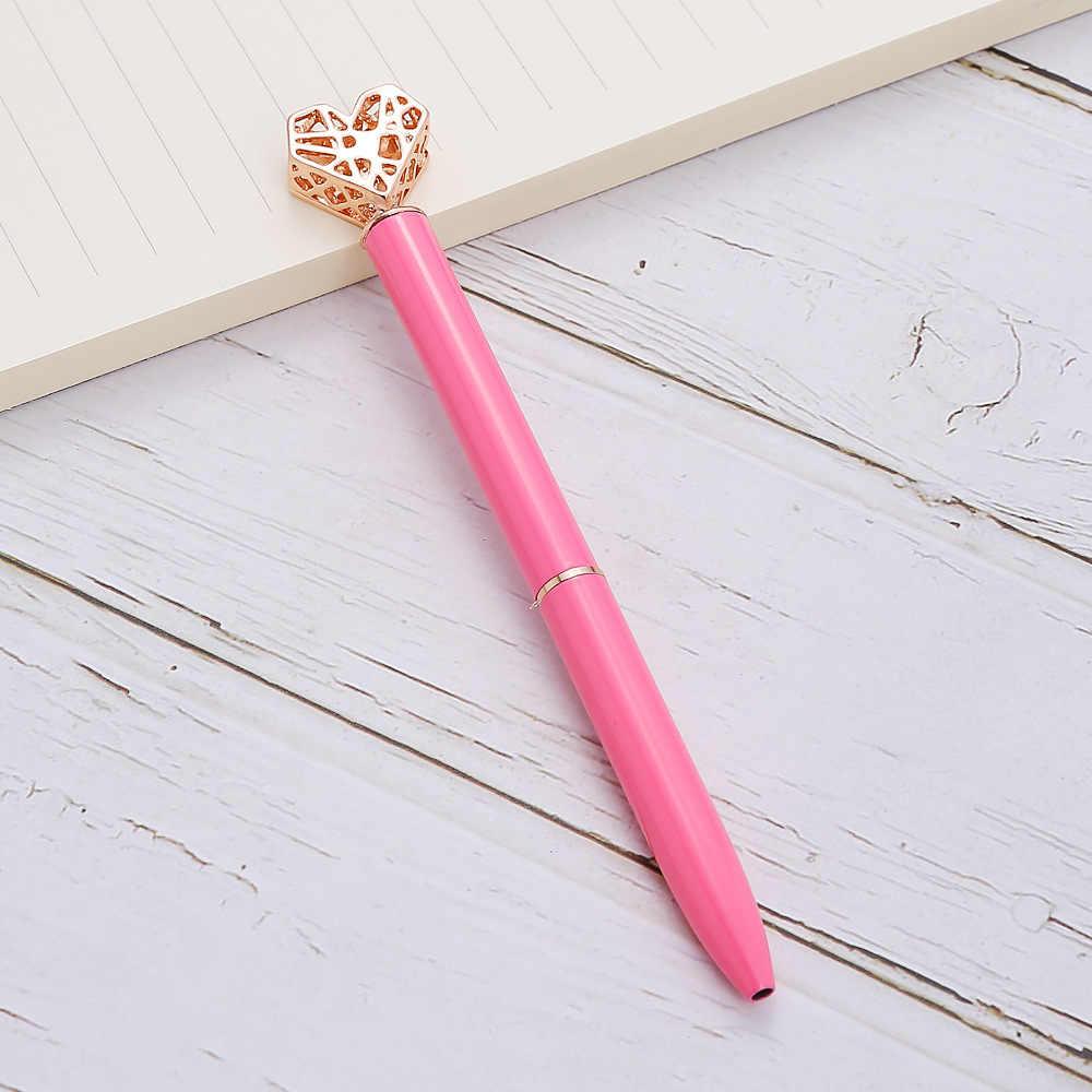 Kawaii kryształowy długopis moda dziewczyna kształt serca duży diament metalowe pióro materiał Escolar Bolis Escolares szkolne