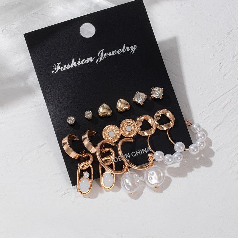 New Fashion Korean Acrylic Drop Butterfly Earrings For Women Geometric Round Crystal Dangle Earrings Set 2020 Brincos Jewelry