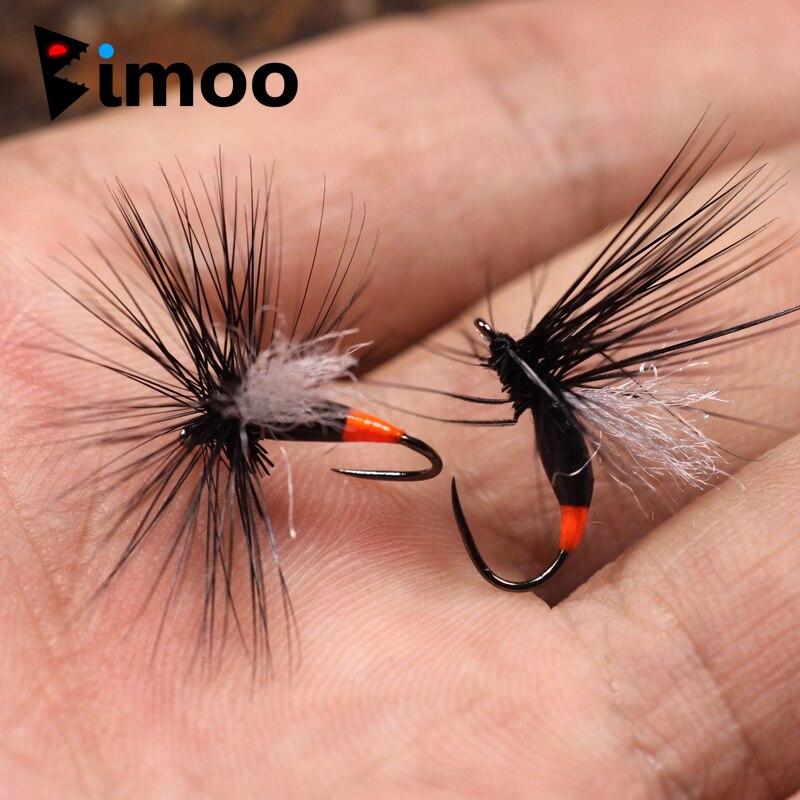 Bimoo 10PCS Größe #12 Winged Schwarz Ant Dry Fly Fishing Flies für Rocky River Trout Fishing Fliegen Künstliche Köder lockt