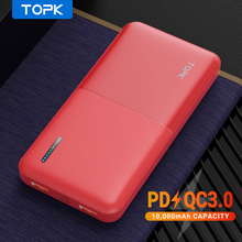 TOPK 10000mAh Power Bank USB 10000 mAh Powerbank Portable External Battery Charger Pack For iPhone Xiaomi Mi 9 for Samsung 20000mah power bank for xiaomi iphone portable powerbank 20000 mah mirror screen usb charger mobile external battery pack