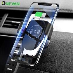 Carregador de carro sem fio 10 w qi carregamento rápido titular do telefone automático em ventilação ar do carro montagem para iphone xs huawei samsung telefone inteligente