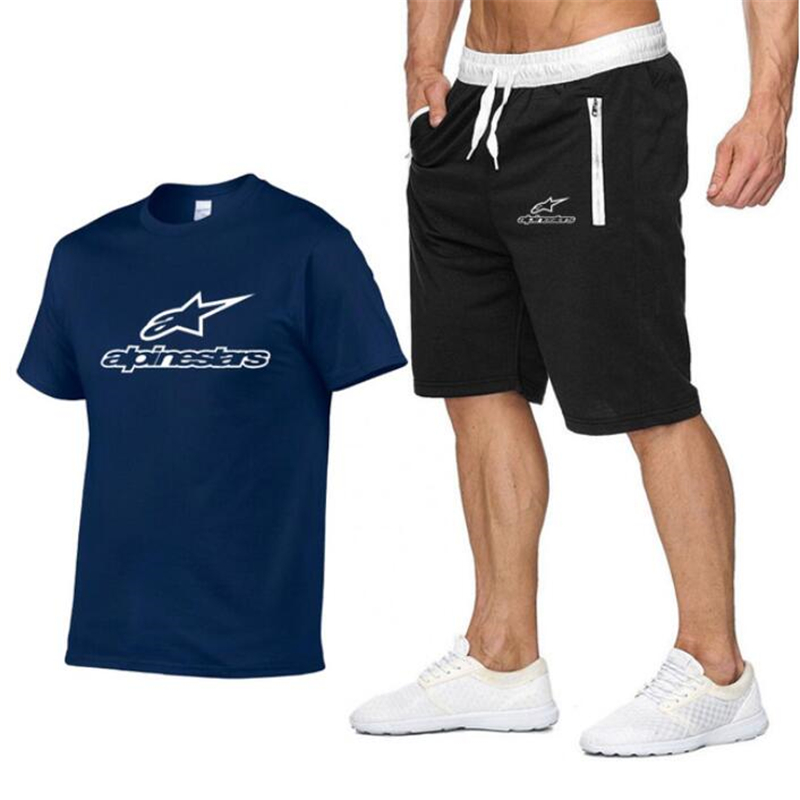 Fashion Shorts Set Men Alpinestars Summer 2pc Tracksuit Short Sweat Shirt + Shorts Sets Mens Casual Tee Shirts Set Sportswears