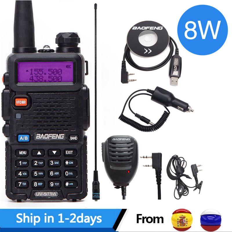 Baofeng UV-5R 8W High Power 8 Watts Powerful Walkie Talkie Long Range 10km VHF/UHF Dual Band Two Way Radio Pofung Uv5r Hunting
