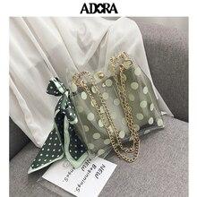 Transparent Womens Bag Wave Spot Silk Scarf Slanted Bucket Crossbody Bags Handbags Women Designer Shoulder Messenger