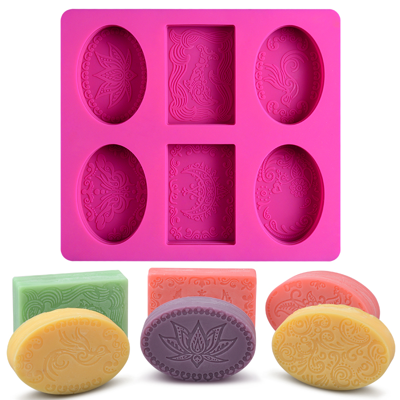 6 Cavity Rectangle Oval Silicone Soap Mold Handmade Soap Making Craft For Home Bathroom Soap Forms
